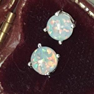 Jewelry - Cute 925 Sterling Silver White/Blue Fire Opal Stud
